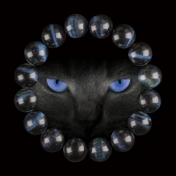 vòng tay đá mắt hổ xanh đen